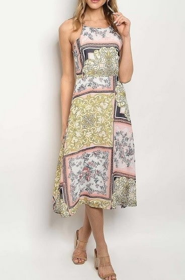 Paisley Floral Flared Midi Dress Pink Multi