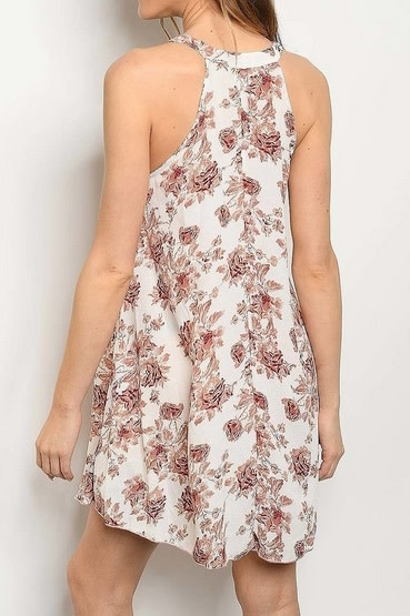 Crisscross Floral Swing Dress Rust/Offwhite