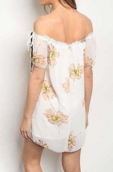 Off Shoulder Sheer Floral Print Dress Ivory/Peach