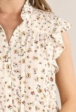 Vintage Floral Button Up BLouse Brick