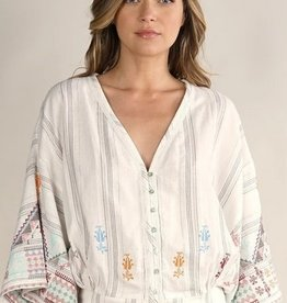 Metallic Yarn Dye Bohemian Button Down Top