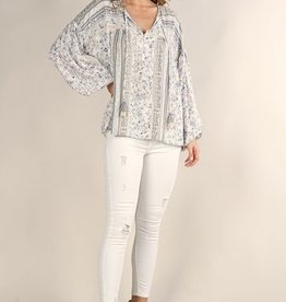 Mixed Floral Peasant Top Sand/Blue