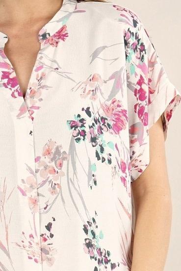Bold Floral Print V-Neck Top Ivory/Fuchsia
