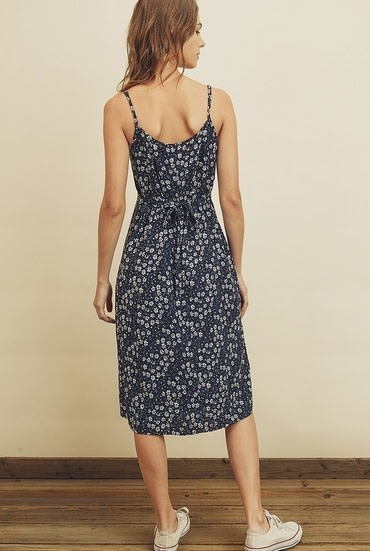 Ditsy Floral Print Midi Dress Navy
