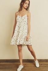 Flare Hem Floral Print Mini Dress Cream