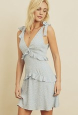 Ditsy Floral Tiered Ruffle Dress Lt Blue