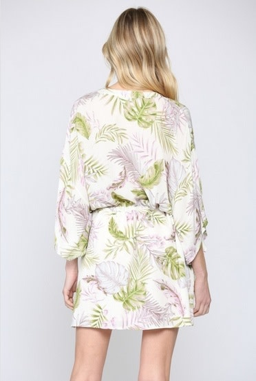 Tropical Print Kimono Dress Ivory