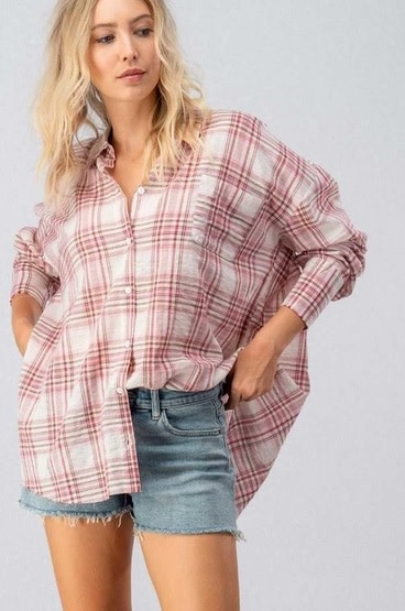Oversized Plaid Flannel Button Down Red