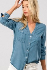 Collarless Denim Button Down