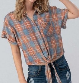 Plaid Button Down Tie Front Top