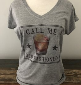Call Me Old Fashioned V-Neck Tee Grey