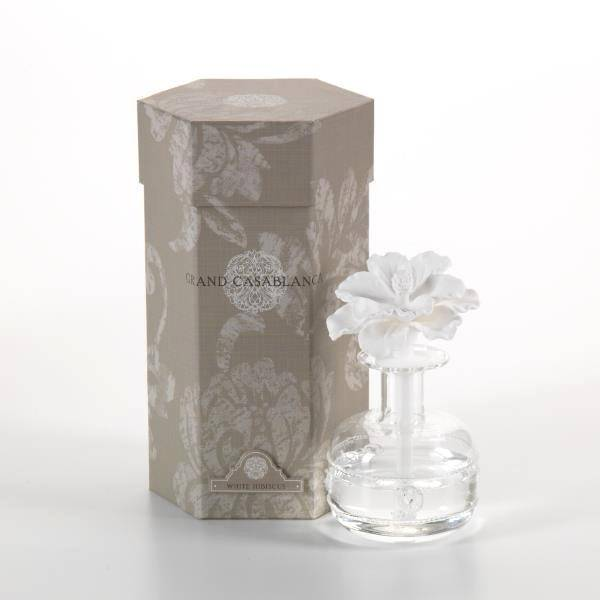 Zodax White Hibiscus Grand Casablanca Porcelain Diffuser