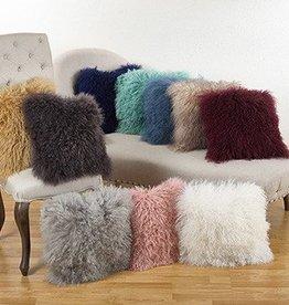 "Mongolian Lamb Pillow - Grey 20"""