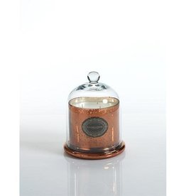 Mercury Glass Jar Candle with Cloche - Antique Copper Small