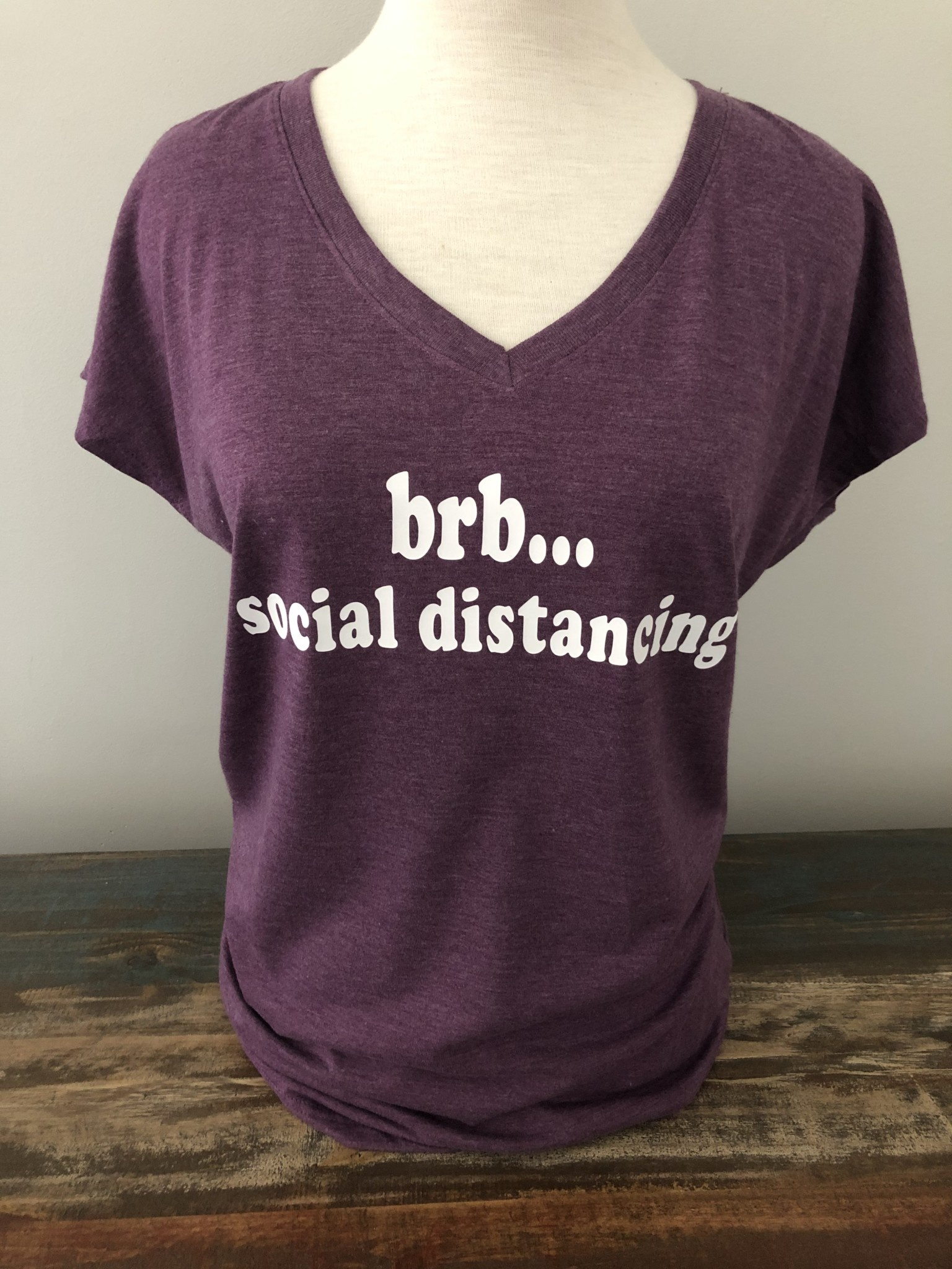 Social Distancing V-Neck Tee Purple