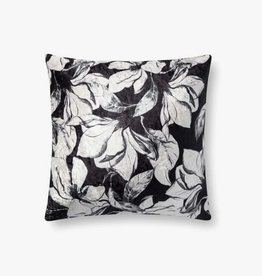 Floral Contrast Pillow Black/White - 18 x 18