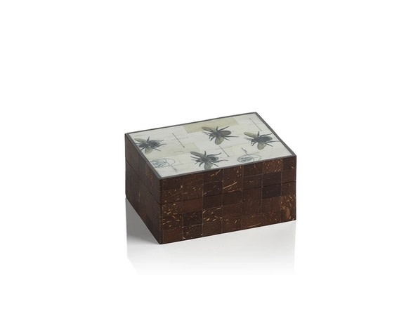 Bee Design Coconut and Bone Wood Box