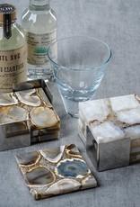 Crete Agate Coasters on Metal Tray Taupe/White - Set/4