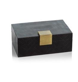 Cape Verde Black Resin Chevron Inlaid Box with Brass Trim