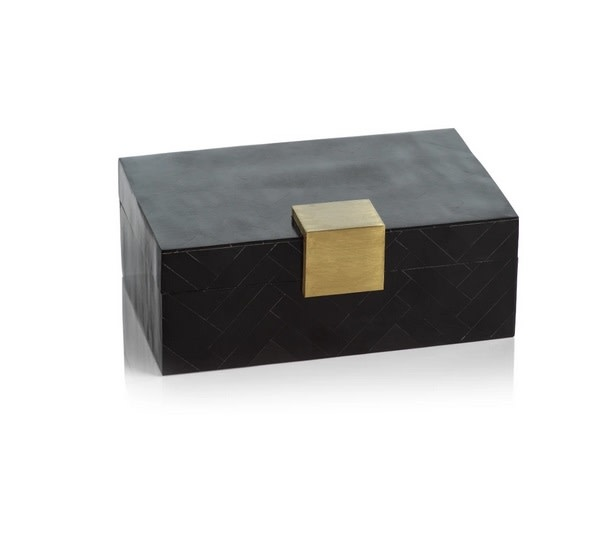 Cape Verde Black Resin Chevron Inlaid Box with Brass Trim