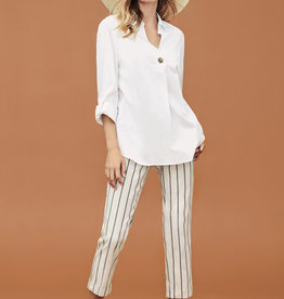 Tribal Accent Button Blouse White