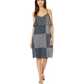 Midi Dress with Chest  Overlay Dark Ocean