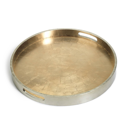 Round Antique Gold and Silver Serving Tray