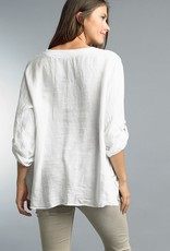 Notched Collar Button Tunic White