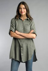 Solid Linen Tunic Olive