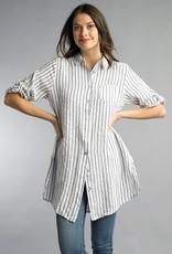 Stripe Linen Tunic Black/White