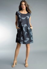 Palm Tree Linen Dress Navy