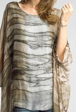 Silk Print Poncho Taupe
