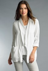 Lace Back Linen Jacket White