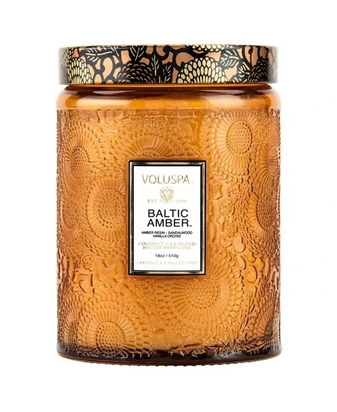 Baltic Amber Large Embossed Jar Candle