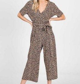 Short Sleeve Jumpsuit Leopard Print