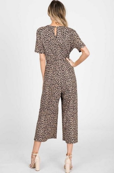Short Sleeve Jumpsuit Leopard Print
