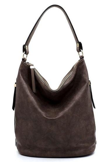 Side Zipper Bucket Shoulder Bag