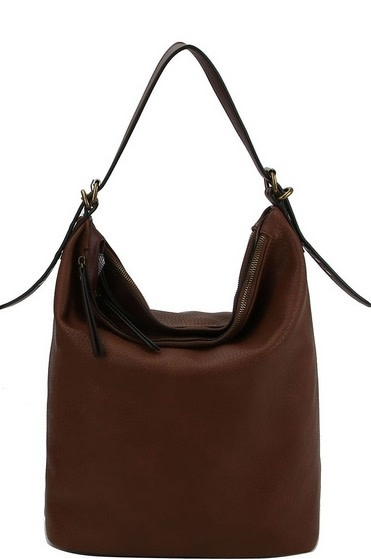 Multi Compartment Textured Bucket Bag