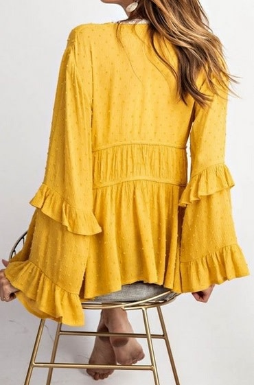 Femme Ruffled Open Front Cardigan Mustard