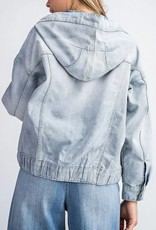 Slouchy Floral Inset Denim Jacket