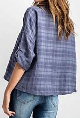 Novelty Plaid Boxy Crop Shirt