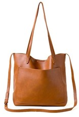 Slim Double Handle Shoulder Strap Tote Bag