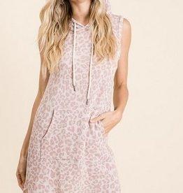 Sleeveless Knit Hoodie Dress Leopard Print