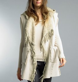 Faux Sheared Hoodie Vest Taupe