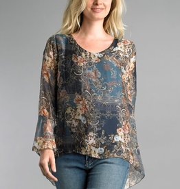 Printed Bell Sleeve Top Denim