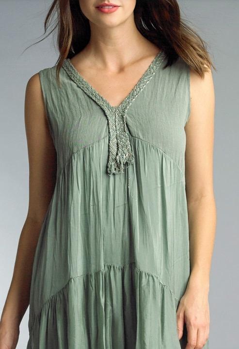 Braided V-Neck Dress Sage