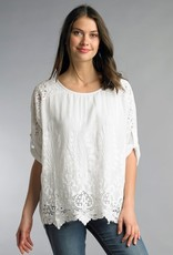 Embroidered Cotton Layered Top White