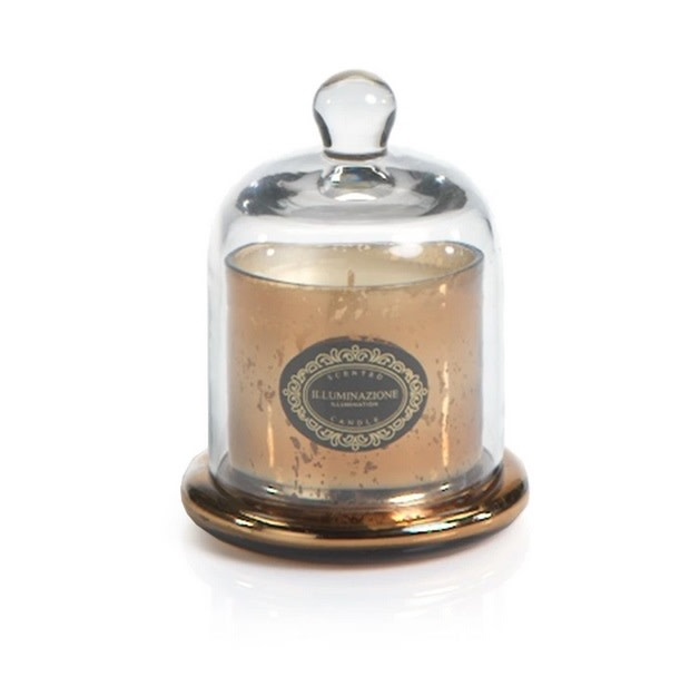 Mercury Glass Jar Candle with Cloche Ant Gold - Vanilla Orchid Small