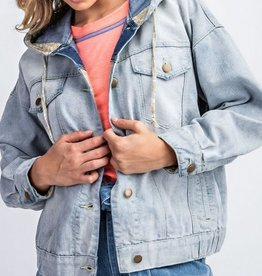 Slouchy Floral Inset Denim Jacket