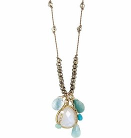 Sylvie Dangle Necklace Moonstone Blue Multi